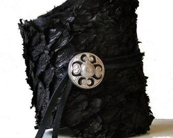 Black Fish Leather with Antique Silver Button Closure Cuff Bracelet