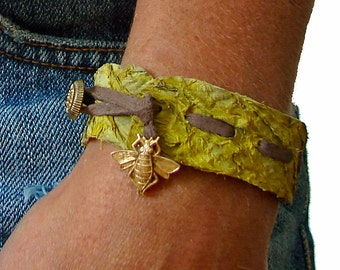 Sunny Yellow Fish Skin Leather with Antique Gold Bee and Antique Gold Button Closure Cuff Bracelet