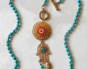 OOAK Gold Hamsa Hand Pendant  Necklace - Turquoise and Gold Beaded Chain