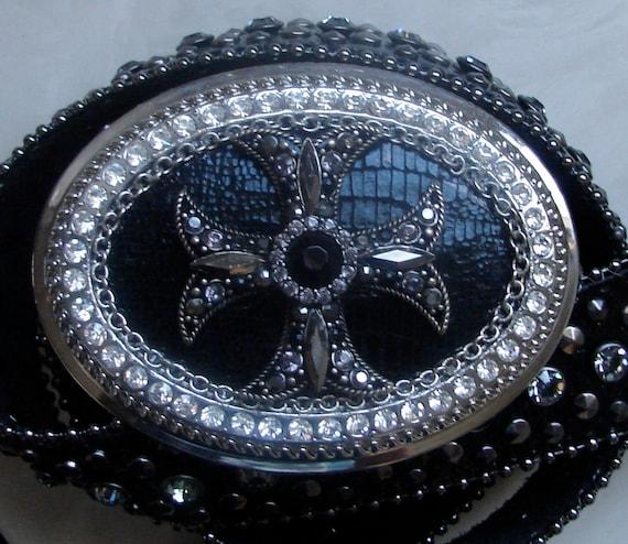 Maltese Cross Swarovski Crystal Buckle and Black Crystal Leather Belt