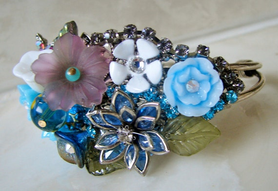 Floral Cuff Bracelet - Vintage Style Flowers- Bridal - Bridesmaid Gift - Wedding