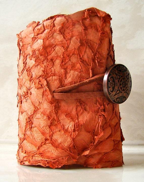 Summer Tangerine Fish Leather with Antique Copper Button Closure Cuff Bracelet