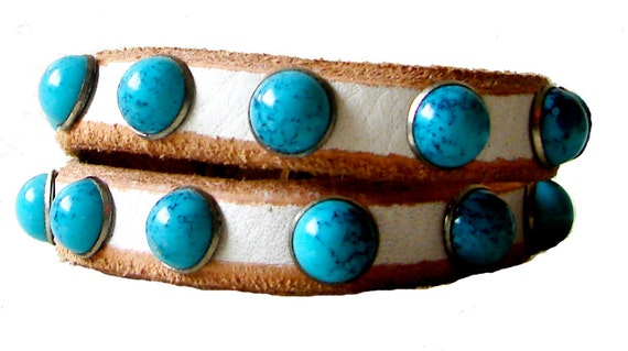 Bohemian White Leather Cuff Bracelet with Turquoise Stones & SIlver Clasp