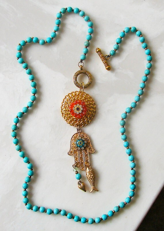 OOAK Gold Hamsa Hand Pendant Necklace by BuckleXpressions