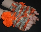 Crocheted Orange, Gray, Cream Fingerless Glove, Hand warmers with removeable pom poms
