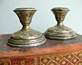 Antique Silver Candlesticks - Sterling Weighted Candle Holders