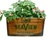 Vintage Wooden Crate - Seaview Beverages Box - Industrial Decor - Storage - Planter