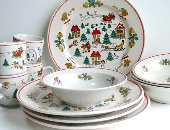 Vintage Christmas Dinnerware for 4 - Holiday Plates Bowls & Cups