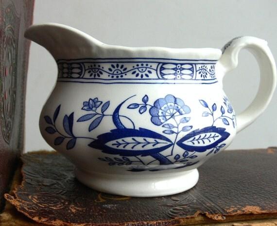 English Wedgwood Pitcher - Vintage Blue Heritage - Blue Onion Cream Pitcher