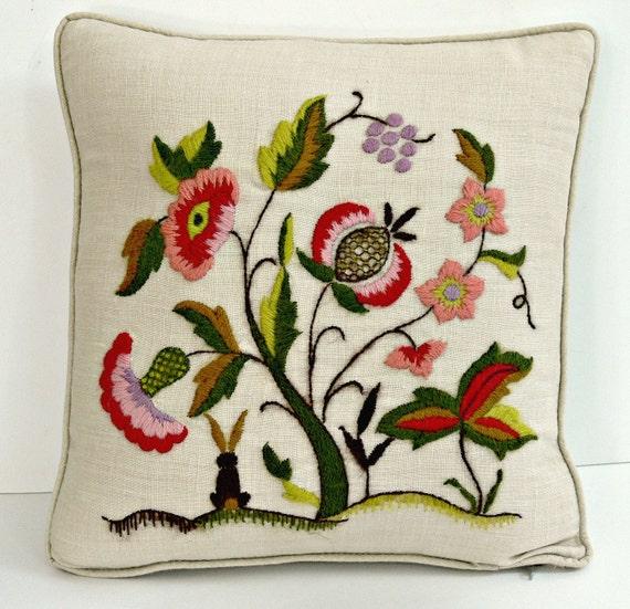 Vintage Crewel Pillow - Wool on Linen
