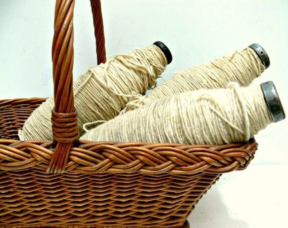 Antique Textile Spools with Wool - Modern Farmhouse or Industrial Decor - Wood & White Shabby - Urban Loft