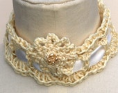 Rich creamy crochet choker necklace with ribbon and clip