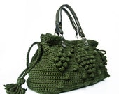 Christmas Gifts Khaki Green handbag  Celebrity Style With Genuine Leather Straps / Handles-crochet bag-shoulder bag-hand made