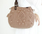 Taupe handbag  Celebrity Style With Genuine Leather Handles-crochet bag-shoulder bag hand made