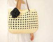 cream summer bag- Handbag Celebrity Style With Genuine Leather Straps / Handles shoulder bag-crochet bag-hand made