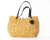 yellow summer bag- Handbag Celebrity Style With Genuine Leather Straps / Handles shoulder bag-crochet bag-hand made