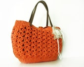 orange summer bag- Handbag Celebrity Style With Genuine Leather Straps / Handles shoulder bag-crochet bag-hand made