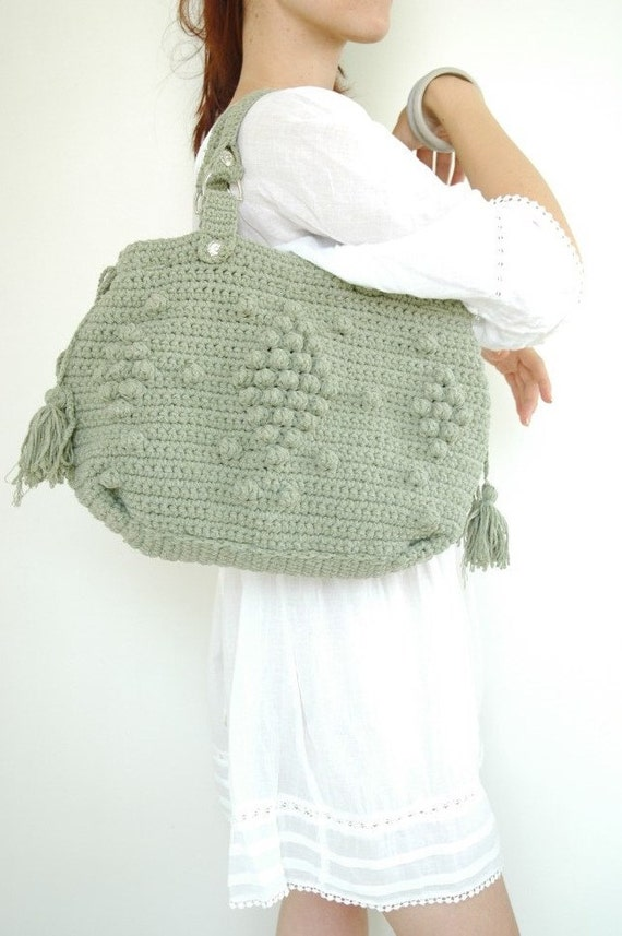 Mint handbag Celebrity Style With -crochet bag-handmade-shoulder bag -crocheted bag-mint bag