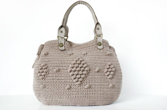 Christmas Gifts Taupe handbag Celebrity Style With Genuine Leather Straps / Handles MORE COLOR OPTIONS crochet bag-hand bag
