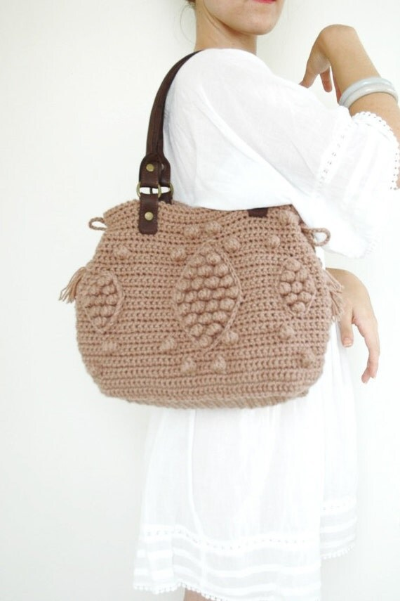 Taupe handbag  Celebrity Style With Genuine Leather Handles-crochet bag-shoulder bag hand made