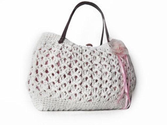 new season bag-white summer bag- Handbag Celebrity Style With Genuine Leather Straps / Handles shoulder bag-crochet bag-hand made