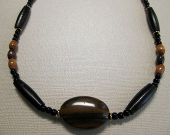 Tiger Eye, Horn & Wood Necklace