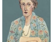 Virginia Woolf Portrait Limited Edition A4 Giclee Print by Bett Norris.