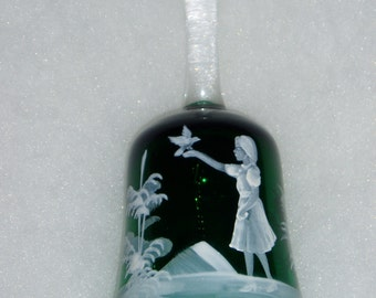 Westmoreland Glass Bell, Green Mary Gregory