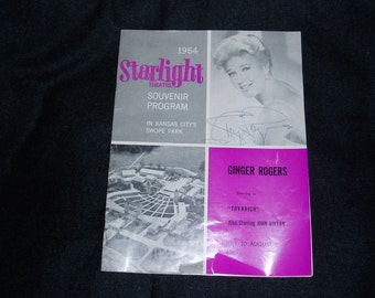 "Autograph,  Ginger Rogers on Souvenir Program for ""Tovarich"" 1964 Kansas City"