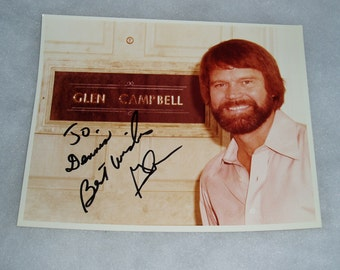 Early Glen Campbell Autograph, Signed Picture, COA, 1970's