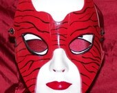Red Tiger Leather Costume Mask