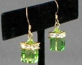 Peridot (August) Swarovski Birthstone Earrings in 14K Gold - ALL MONTHS Available in Gold or Silver