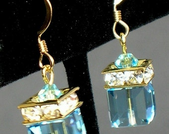 Aquamarine (March) Swarovski Birthstone Earrings in 14Kt Gold-filled - ALL MONTHS AVAILABLE.