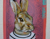 "Rabbit Portrait N76. ACEO's card 2.5""x3.5"" original acrylic painting. 2011"