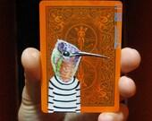 "Hummingbird Portrait N7. ACEO's card 2.5""x3.5"" original acrylic painting. 2011"