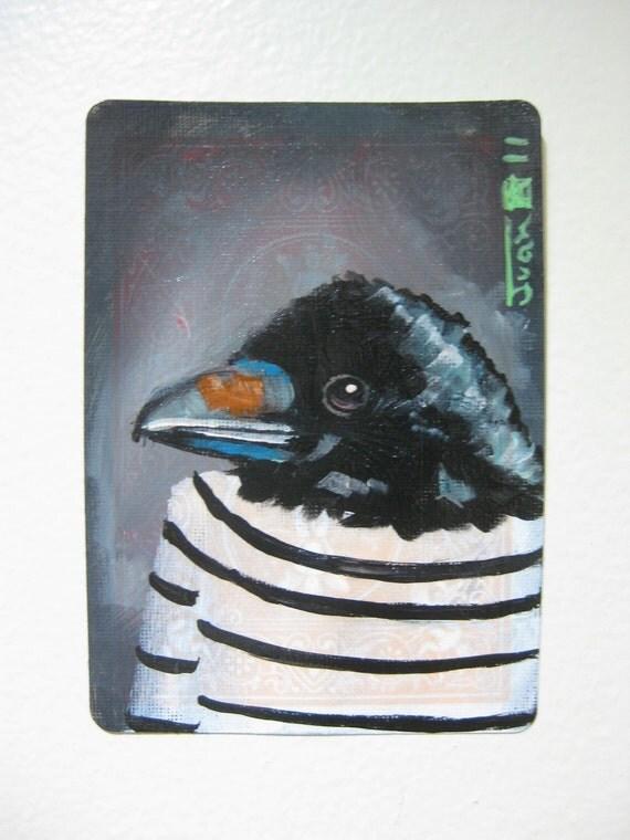 "Crow Portrait N15. ACEO's card 2.5""x3.5"" original acrylic painting. 2011"