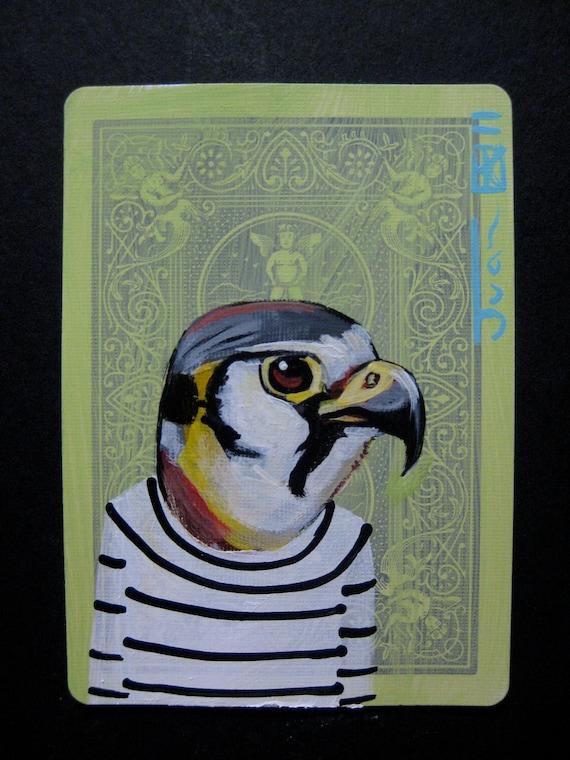 "American Kestrel Portrait N1. ACEO's card 2.5""x3.5"" original acrylic painting. 2011"