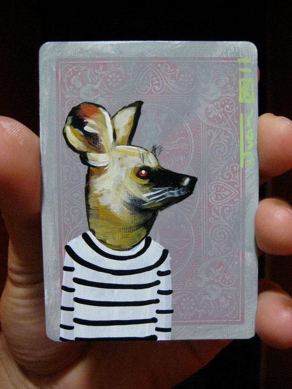 "WIld dog Portrait N5. ACEO's card 2.5""x3.5"" original acrylic painting. 2011"