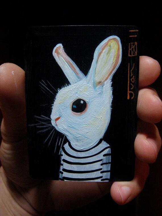 "White Rabbit Portrait N3. ACEO's card 2.5""x3.5"" original acrylic painting. 2011"