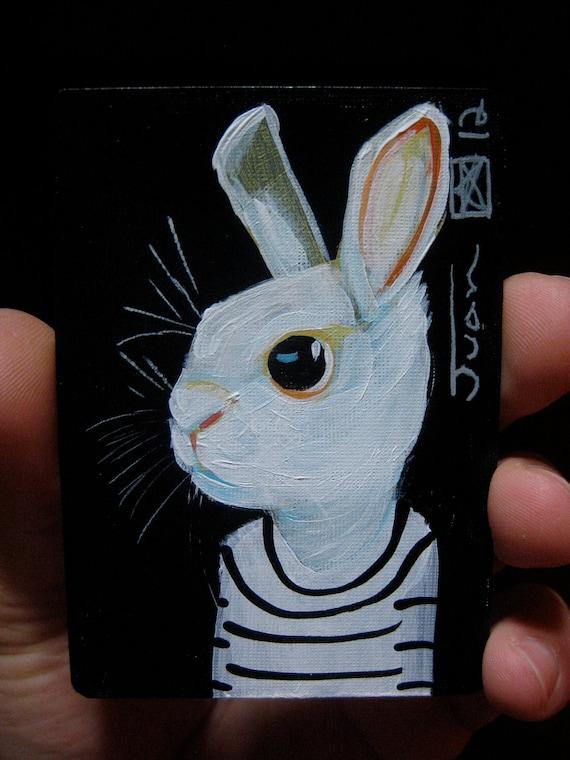 "Rabbit Portrait N94. ACEO's card 2.5""x3.5"" original acrylic painting. 2012"