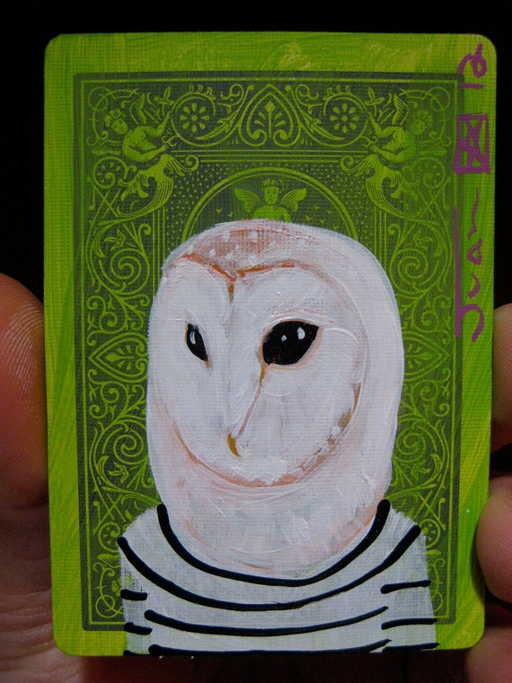 "Barn Owl Portrait N29. ACEO's card 2.5""x3.5"" original acrylic painting. 2012"