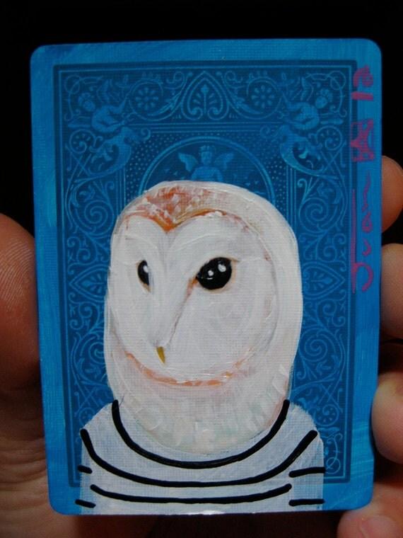 "Barn Owl Portrait N31. ACEO's card 2.5""x3.5"" original acrylic painting. 2012"
