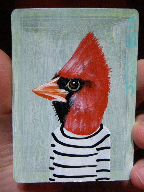 Cardinal Portrait N12. on a playing cards.original acrylic painting. 2012