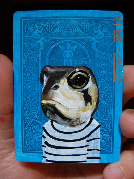 Desert Rain Frog Portrait N2. on a playing cards.original acrylic painting. 2012
