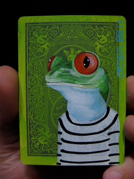 Red Eyed Tree Frog Portrait N2 on a playing cards. Original acrylic painting. 2012