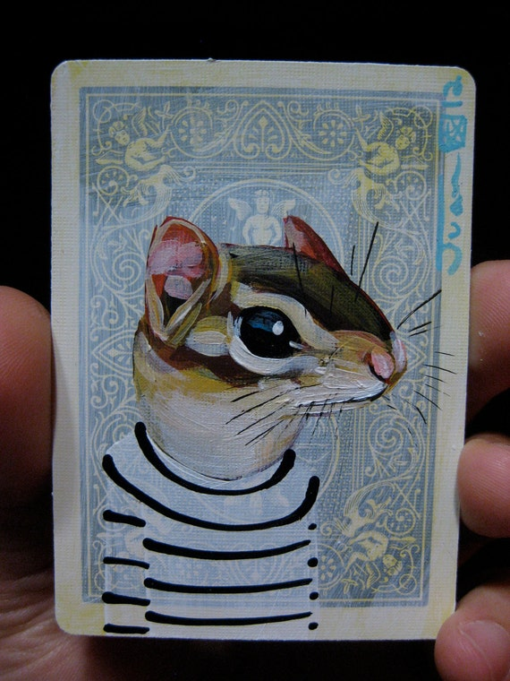 Chipmunk Portrait N10 on a playing cards. Original acrylic painting. 2012