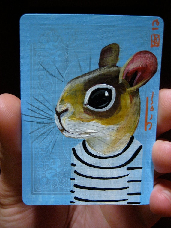 Squirrel portrait N4 on a playing cards. Original acrylic painting. 2012