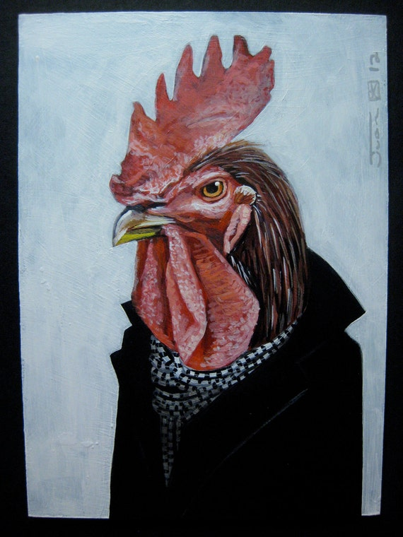 Self Portrait as The Rooster. Original Acrylic painting on panel. 2012