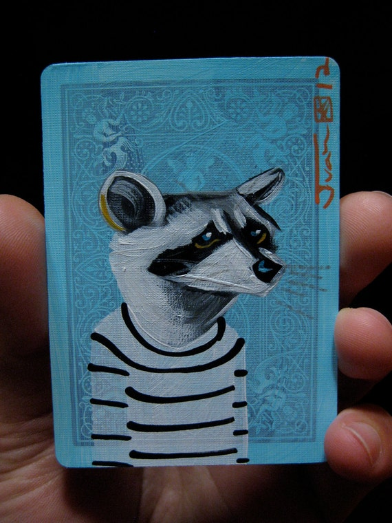 Raccoon portrait N66 on a playing cards. Original acrylic painting. 2012