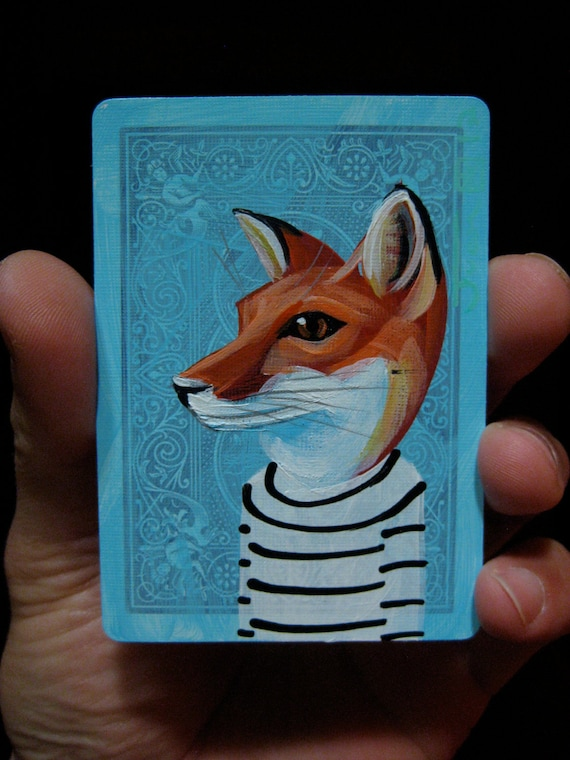 Red Fox portrait N69 on a playing cards. Original acrylic painting. 2012